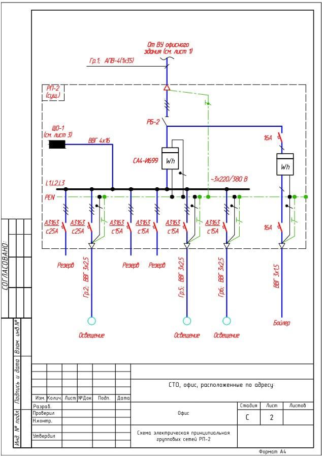 Однолинейная схема электрощитовой школы